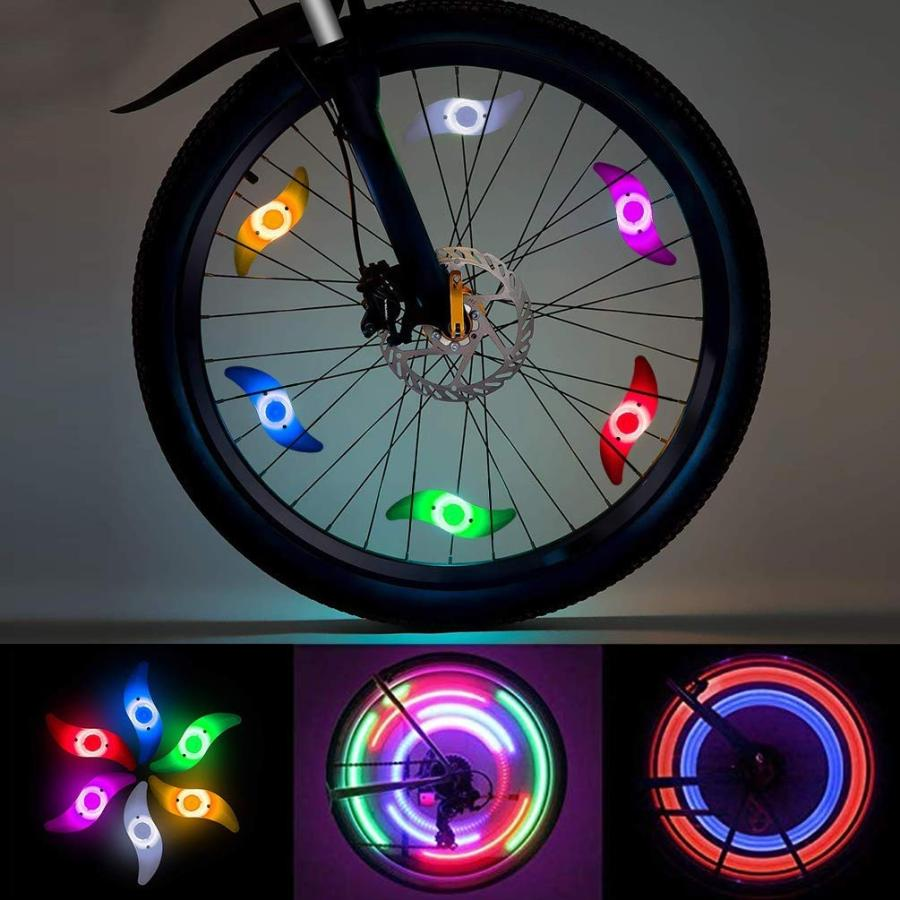 LEDGLE 自転車ホイールライト 自転車用スポークLEDライト 夜間セーフティライト 3発光モード 事故防止 夜道安全 反射板 6個セット|riyusa-s|06