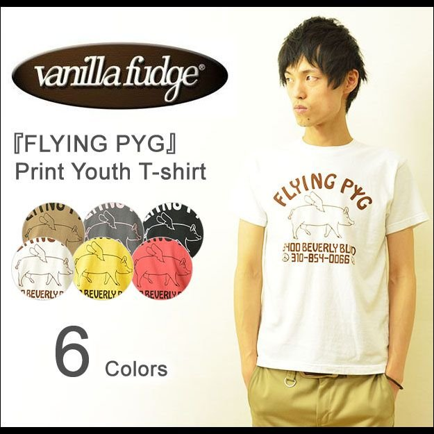 VANILLA FUDGE(ヴァニラファッジ) FLYING PYG プリント ユースサイズ 半袖Tシャツ メンズ レディ−ス ユニセックス 男女 ブタ ぶた 豚 ピッグ JV-2015413|robinjeansbug