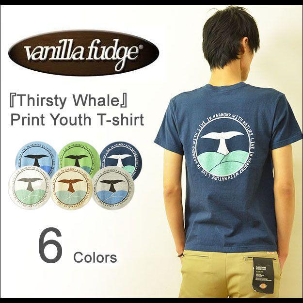VANILLA FUDGE(ヴァニラファッジ) Thirsty Whale プリント ユースサイズ 半袖Tシャツ メンズ レディ−ス ユニセックス 男女 クジラ JV-2015427|robinjeansbug