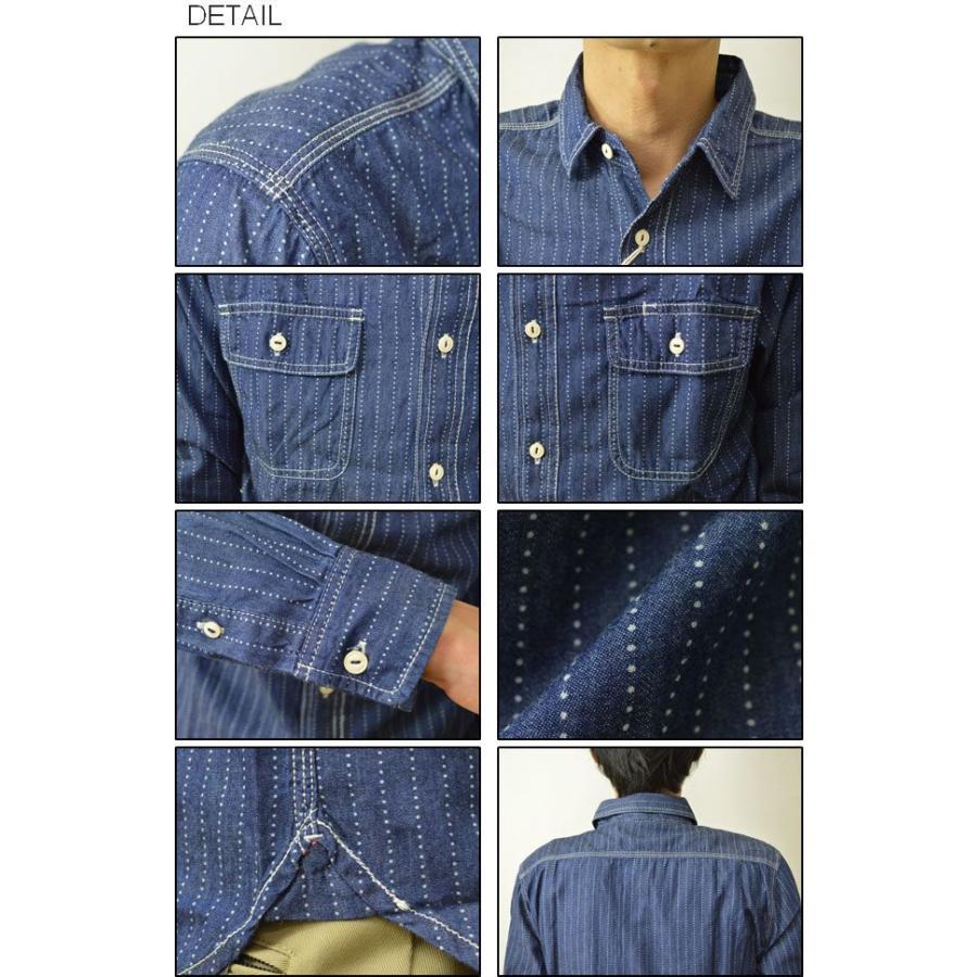 GLOVE HOUSE(グローブハウス) インディゴ ウォバッシュ ワークシャツ メンズ 長袖 ワバシュ ストライプ デニム 15-2003|robinjeansbug|03