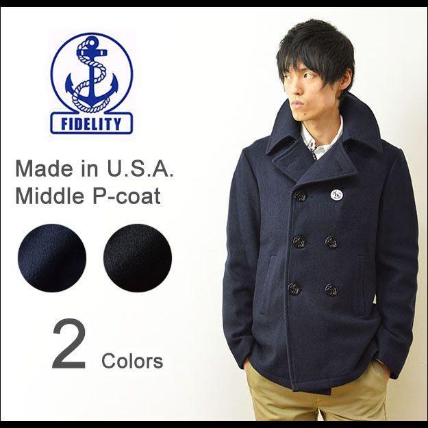 FIDELITY(フィデリティ) アメリカ製 ミドル Pコート メンズ アウター メルトン ウール ピーコート ジャケット USA 22オンス フィデリティー 22209-R-W-14|robinjeansbug