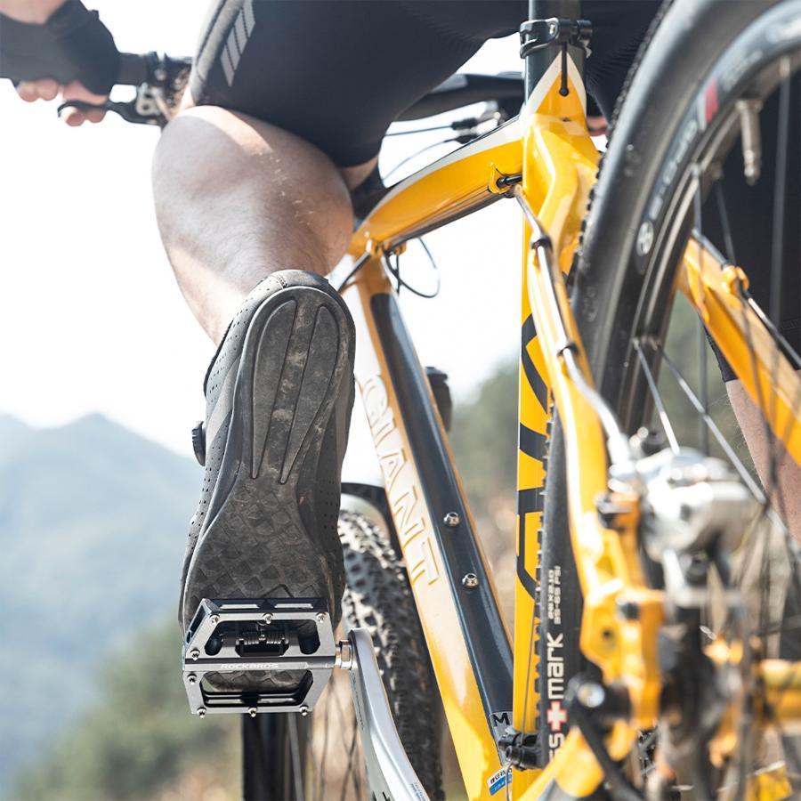 ビンディングペダル フラットペダル 表裏一体型 自転車 ロードバイク 9/16インチ rockbros 18