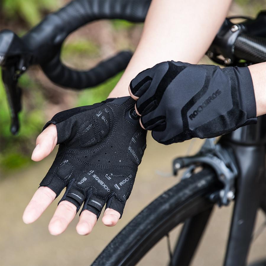 グローブ 自転車 サイクルグローブ 指切り ハーフフィンガー 春夏 耐衝撃性 rockbros 11