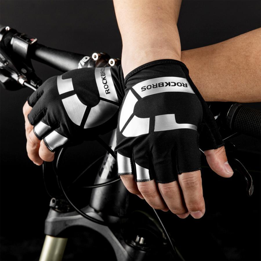 グローブ 自転車 サイクルグローブ 指切り ハーフフィンガー 春夏 耐衝撃性|rockbros|17