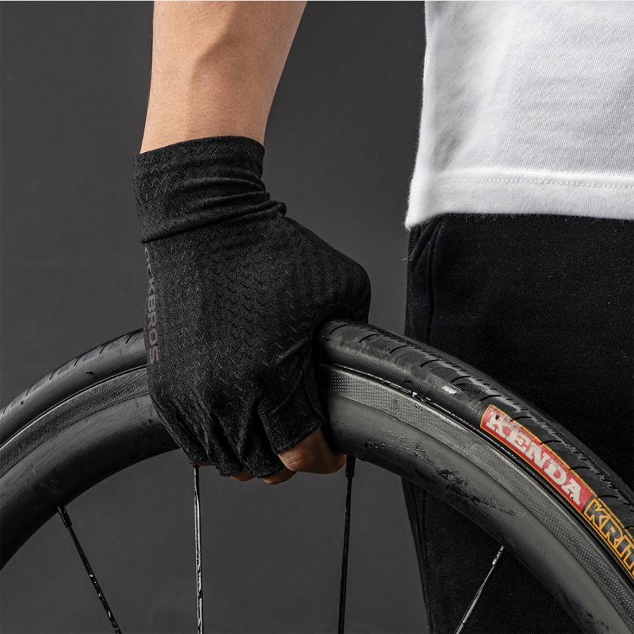 グローブ 自転車 サイクルグローブ トレーニング 冷感 指切り ハーフフィンガー 春夏|rockbros|14