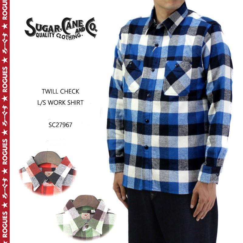 SUGAR CANE TWILL CHECK L//S WORK SHIRT