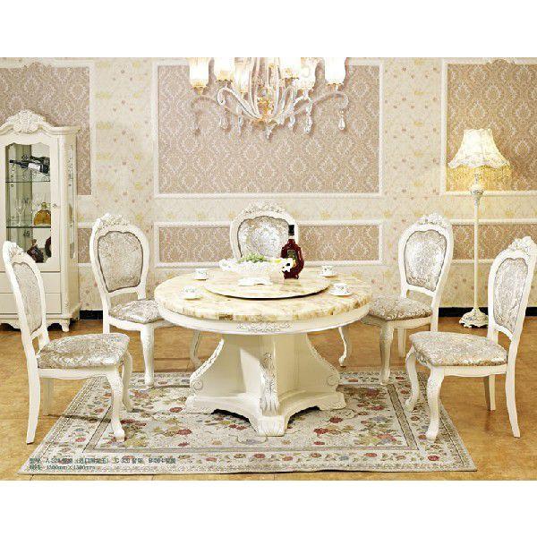 【輸入家具】天然木・天然石使用 ホワイトダイニングテーブル