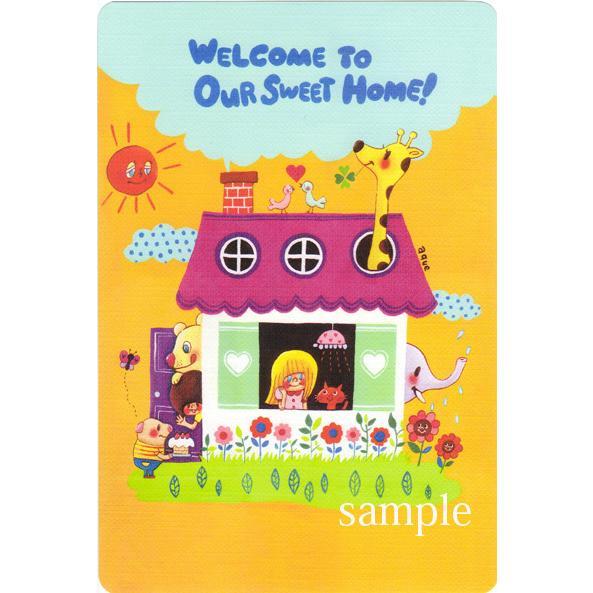ポストカード「Welcome to our Sweet Home!」 家 引越し 動物 可愛い はがき カード|room505