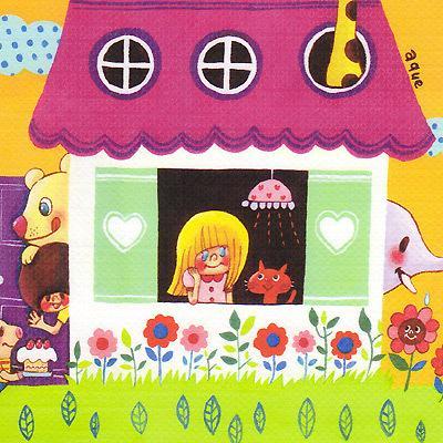 ポストカード「Welcome to our Sweet Home!」 家 引越し 動物 可愛い はがき カード|room505|02