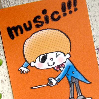 ポストカード「music!!!」 指揮者 音楽 演奏 可愛い はがき カード|room505|02