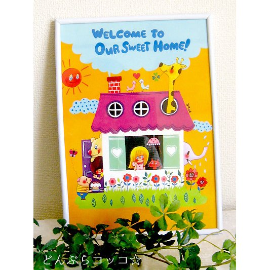 A4ピクチャー「Welcome to our Sweet Home!」イラスト A4 アート インテリア 家 可愛い|room505