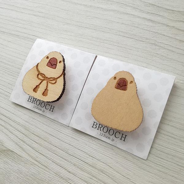ブローチ 木製 文鳥 小鳥 木のブローチ 鳥のアクセサリー文鳥グッズ|room505|02