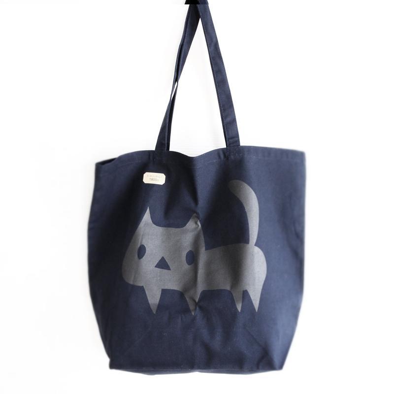 トートバッグ でっかい黒ネコ 猫 ねこ コットン ネイビー|room505