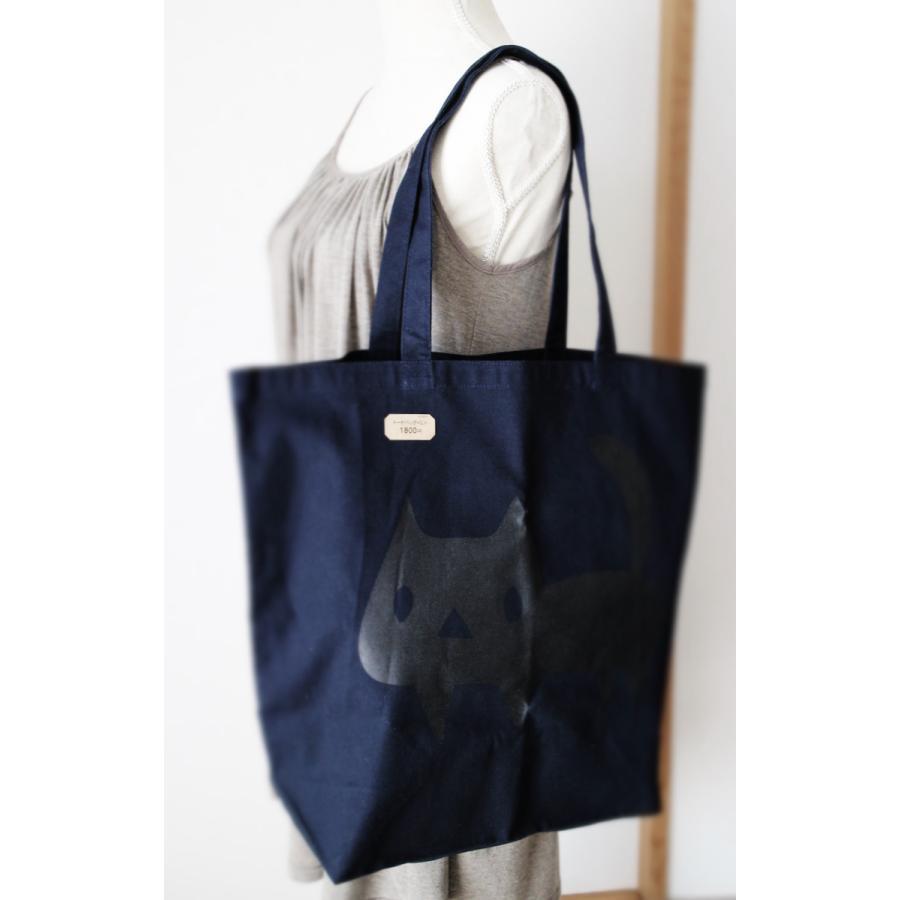 トートバッグ でっかい黒ネコ 猫 ねこ コットン ネイビー|room505|06