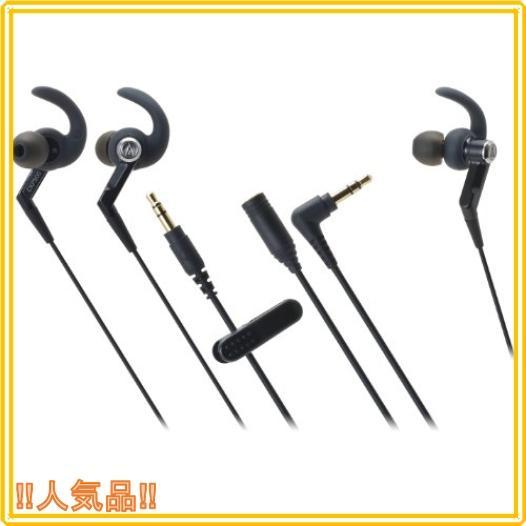 audio-technica カナル型イヤホン 防水仕様 スポーツ向け ブラック ATH-CKP500 BK|roomy29
