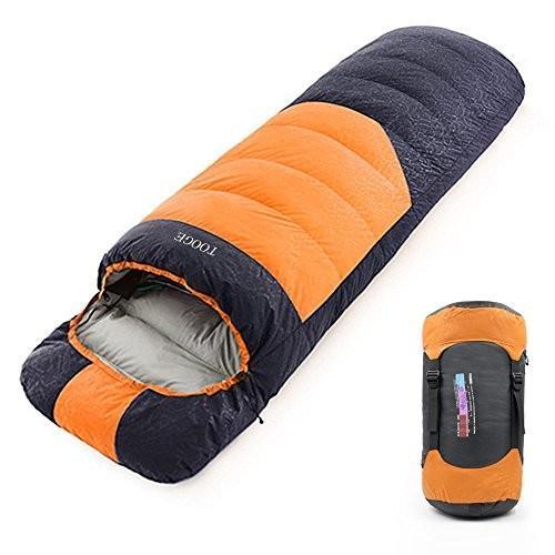 Tooge 寝袋 封筒型 冬用 快適温度-10℃〜5℃ 収納袋付き 2個連結使用 (オレンジ, 右)