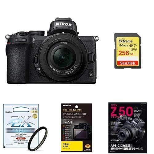 Nikon ミラーレス一眼カメラ Z50 レンズキット Z50LK16-50 ブラック + アクセサリー3点(SDカード、液晶保護フィルム、