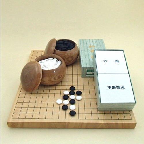 囲碁セット 新かや10号卓上接合碁盤松と蛤碁石徳用32号に手作木製碁笥栗大