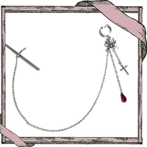 イヤーカフス&ダミー口ピアス 十字架 クロス 蜘蛛 クモ スパイダー・銀×赤(偽口ピアス) rose-cross 02