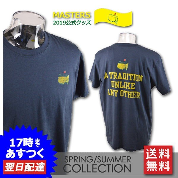 2019マスターズ公式グッズ 半袖Tシャツ メンズ (S)(M)(L) Masters Tournament マスターズ ゴルフ ゴルフウェア traditionaltee-navy