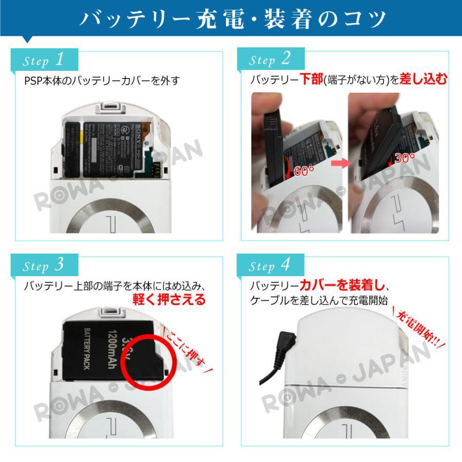 ソニー対応 PSP-3000 PSP-2000 互換 バッテリーパック PSP-S110 1200mAh 実容量高 高品質【ロワジャパン】|rowa|08