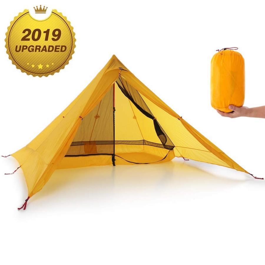 Lixada 超軽量2人テント ポータブル バック パックテント 両面シリコン コーティング 耐水性 アウトドア キャンプテント キャンプコ
