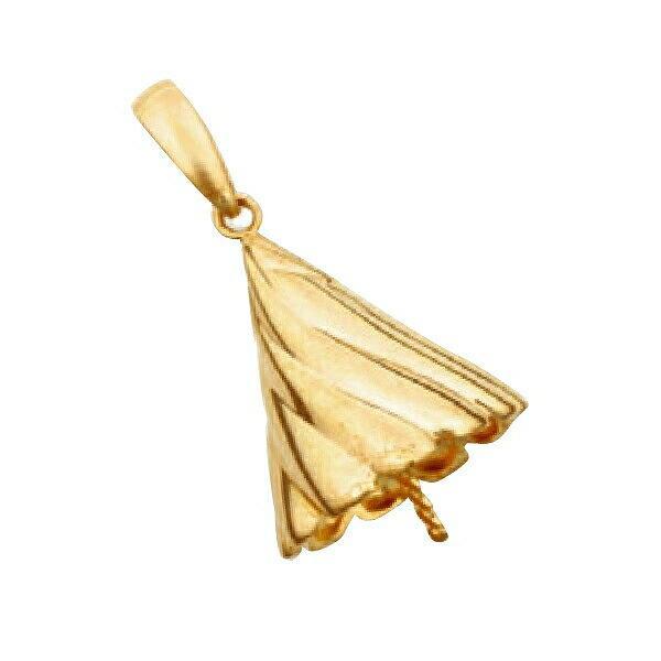 【1個売り】 真珠用パーツ 18金 イエローゴールド フラワーモチーフペンダントトップパーツ 笠タイプ 12.0mmから15.0mm玉用|パーツ 部品 貴金属
