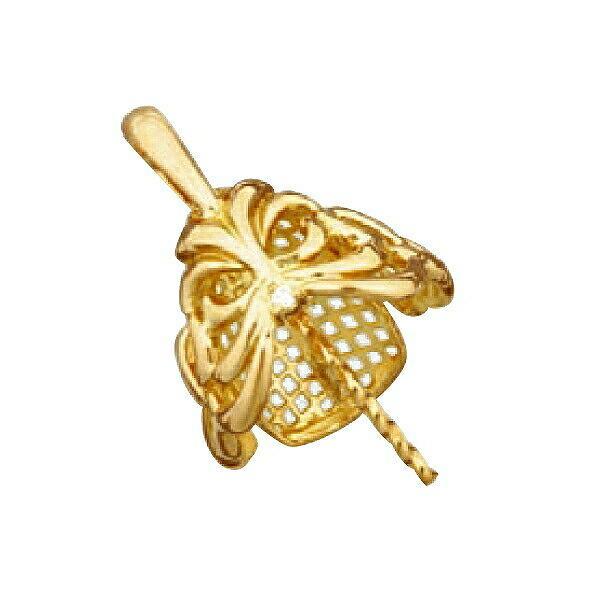 【1個売り】 真珠用パーツ 18金 イエローゴールド 透かしデザインペンダントトップパーツ 笠タイプ 13.0mmから14.0mm玉用 0.01ctのダイヤモンド1個付き|貴金属