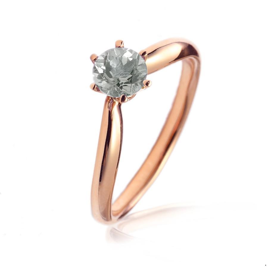 最愛 指輪 18金 ピンクゴールド 天然石 一粒リング 主石の直径約4.4mm ソリティア V字 しぼり腕 六本爪留め, 南高来郡 e379486c