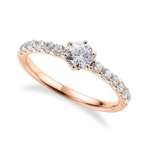 2018新入荷 指輪 18金 ピンクゴールド 天然石 サイド一文字リング 主石の直径約4.4mm 六本爪留め, クセグン f65023d4
