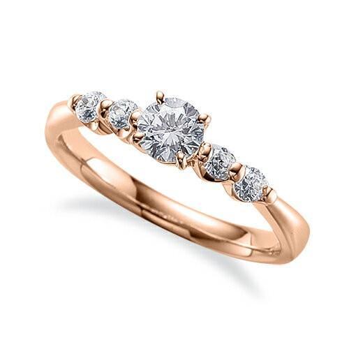特売 指輪 18金 ピンクゴールド 天然石 サイドストーンリング 主石の直径約4.4mm 四本爪留め, 無添加工房 OKADA e0253ead