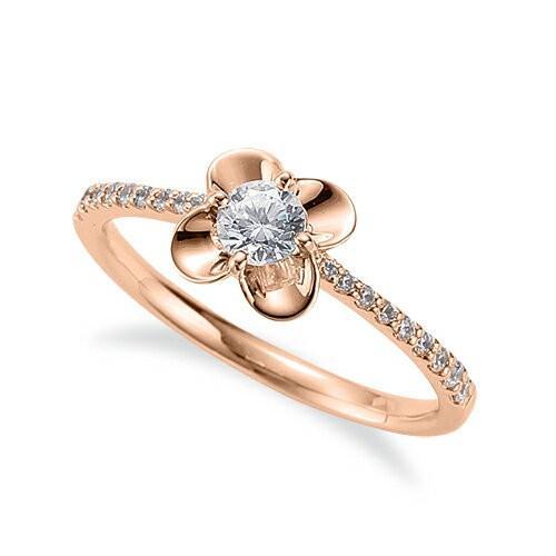 多様な 指輪 18金 ピンクゴールド 天然石 花モチーフのサイド一文字リング 主石の直径約3.8mm 四本爪留め, おまかせオフィス 0d0316c9