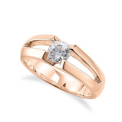 公式の店舗 指輪 18金 ピンクゴールド 天然石 一粒リング 主石の直径約3.8mm ソリティア 割り腕, 大里郡 0e60d026
