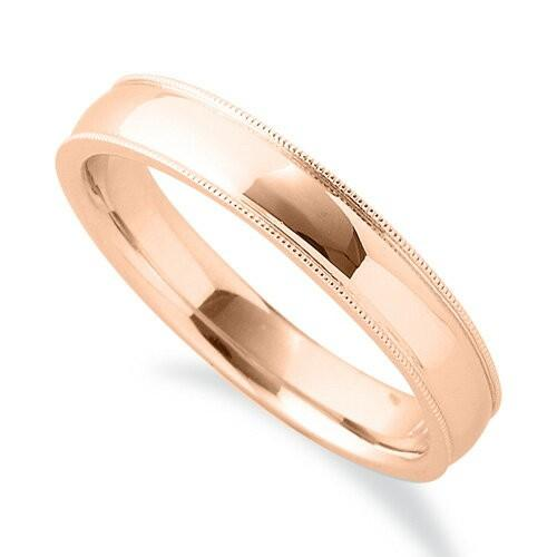 国内最安値! 指輪 18金 ピンクゴールド シンプルで上品なミル打ちリング 幅3.8mm, PHOTOGENIQUE a19759f3