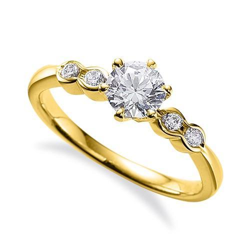 【年中無休】 指輪 18金 イエローゴールド 天然石 サイドストーンリング 主石の直径約5.2mm 六本爪留め, 中井製茶場有無 6cd47407
