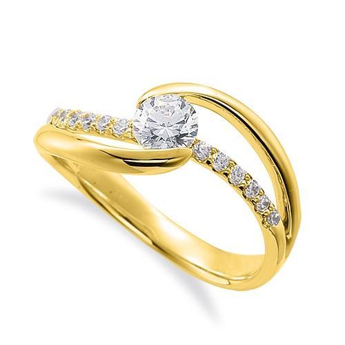 安い購入 指輪 18金 イエローゴールド 天然石 メレがラインになったサイドストーンリング 主石の直径約4.4mm ウェーブ 割り腕 レール留め, ヒノカゲチョウ 9ac6fcaf