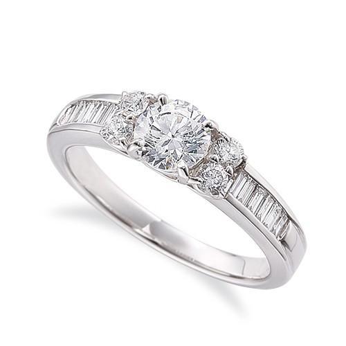 格安 指輪 PT900 プラチナ 天然石 バゲットメレのサイド一文字リング 主石の直径約4.4mm 四本爪留め, デンキヤ2 4db04ba4