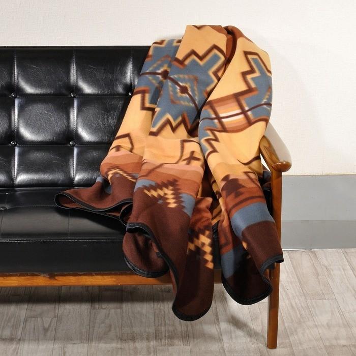 エルパソサドルブランケット (El Paso SADDLEBLANKET) Fleece Lodge Blanket フリースロッジブランケット[約203×152cm]01B.BEIGE/STEEL|rugforest|03