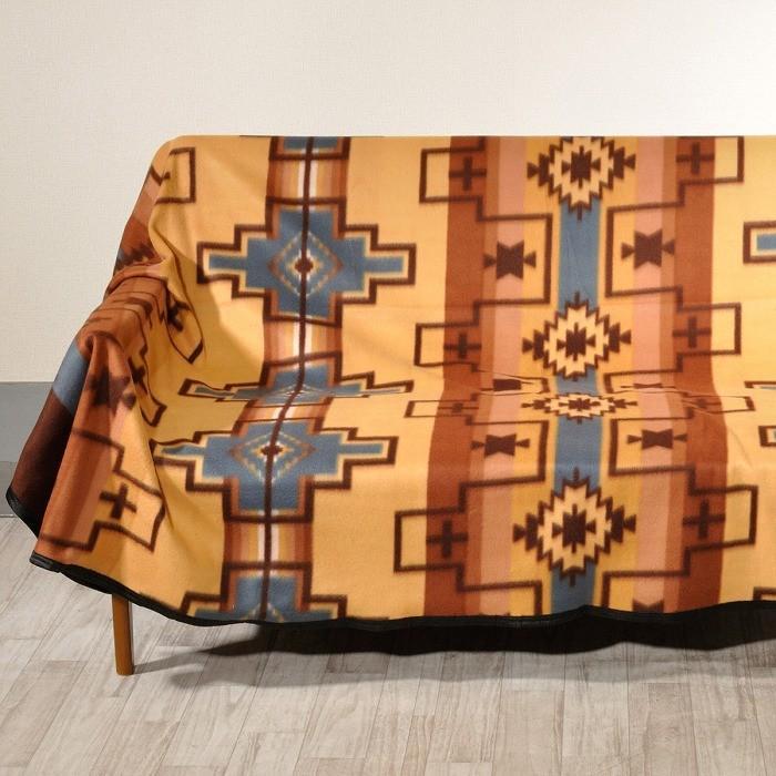 エルパソサドルブランケット (El Paso SADDLEBLANKET) Fleece Lodge Blanket フリースロッジブランケット[約203×152cm]01B.BEIGE/STEEL|rugforest|04