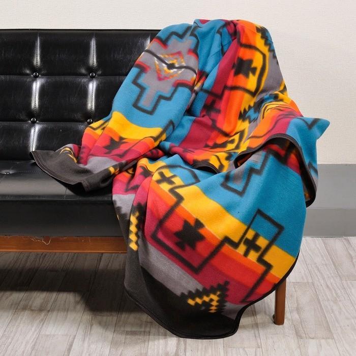 エルパソサドルブランケット (El Paso SADDLEBLANKET) Fleece Lodge Blanket フリースロッジブランケット[約203×152cm]01.TURQUOISE|rugforest|03