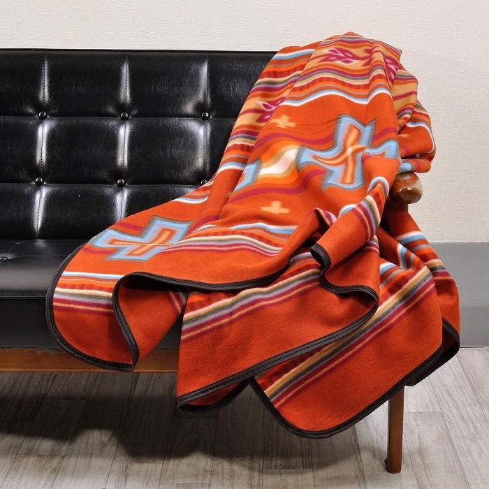 エルパソサドルブランケット (El Paso SADDLEBLANKET) Fleece Lodge Blanket フリースロッジブランケット[約203×152cm]08.RUST|rugforest|03