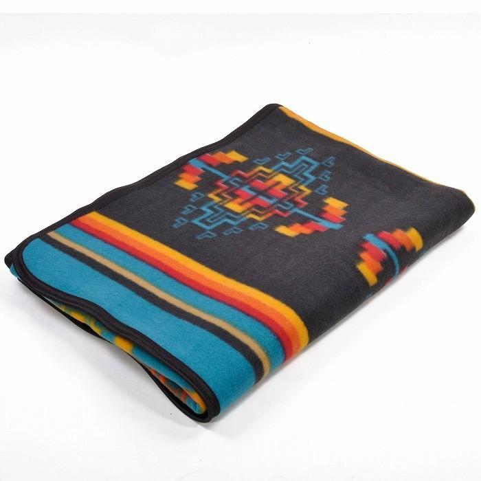 エルパソサドルブランケット (El Paso SADDLEBLANKET) Fleece Lodge Blanket フリースロッジブランケット[約203×152cm]10.BLK/TURQUOISE rugforest