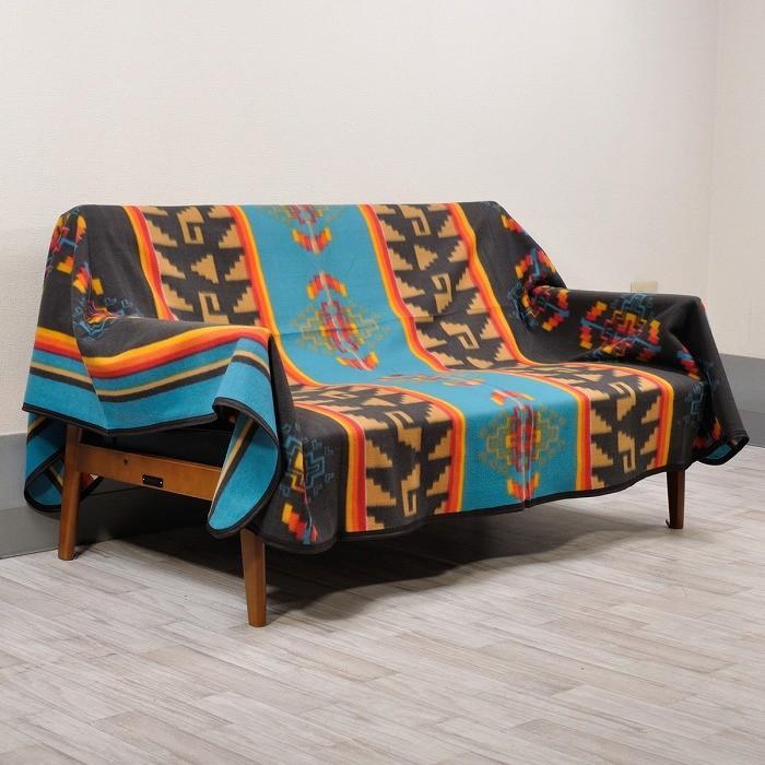 エルパソサドルブランケット (El Paso SADDLEBLANKET) Fleece Lodge Blanket フリースロッジブランケット[約203×152cm]10.BLK/TURQUOISE rugforest 02
