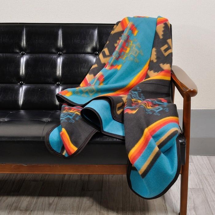 エルパソサドルブランケット (El Paso SADDLEBLANKET) Fleece Lodge Blanket フリースロッジブランケット[約203×152cm]10.BLK/TURQUOISE rugforest 03