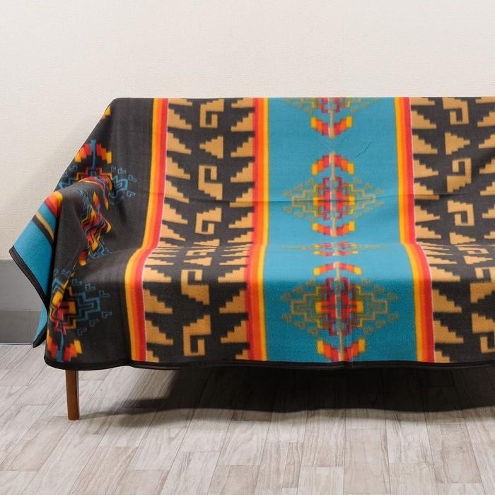 エルパソサドルブランケット (El Paso SADDLEBLANKET) Fleece Lodge Blanket フリースロッジブランケット[約203×152cm]10.BLK/TURQUOISE rugforest 04