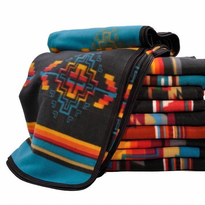 エルパソサドルブランケット (El Paso SADDLEBLANKET) Fleece Lodge Blanket フリースロッジブランケット[約203×152cm]10.BLK/TURQUOISE rugforest 05