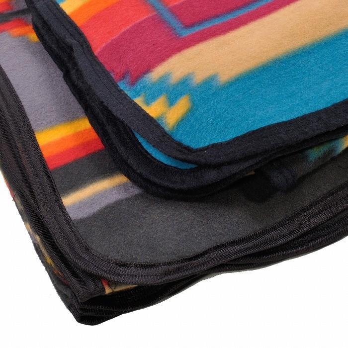 エルパソサドルブランケット (El Paso SADDLEBLANKET) Fleece Lodge Blanket フリースロッジブランケット[約203×152cm]10.BLK/TURQUOISE rugforest 08