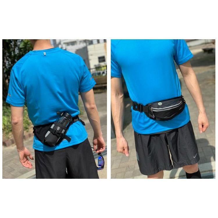 PITAT  ランニングポーチ 防水 マラソン ジョギング 給水ポケット付き スマートフォン ウエストバック 揺れない ボトルポーチ ランニングポーチ ウエスト runcom 18