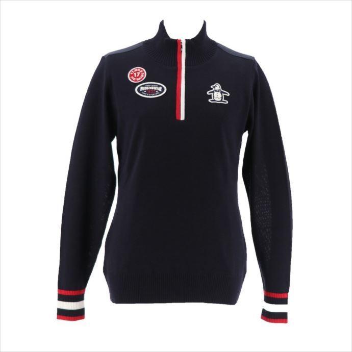 《送料無料》Munsingwear (マンシングウェア) レディス 防風裏地付きハーフジップニット ネイビー MGWMJL04 1908 ゴルフ 長袖セーター