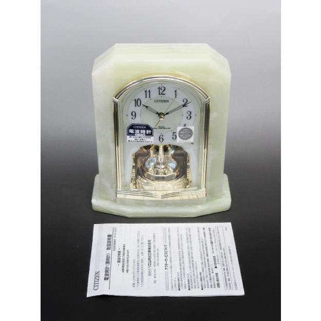 未使用品 CITIZEN/シチズン 電波置時計 パルラフィーネ オニックス枠 中古